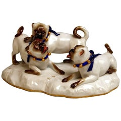 Meissen Three Pugs Dogs F 186 Ringler August Animal Figurines, circa 1870