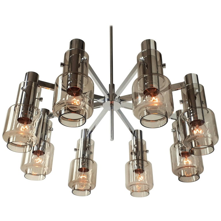 Hans Agne Jakobsson  Chrome  8 Arm Chandelier , 1960s , Sweden
