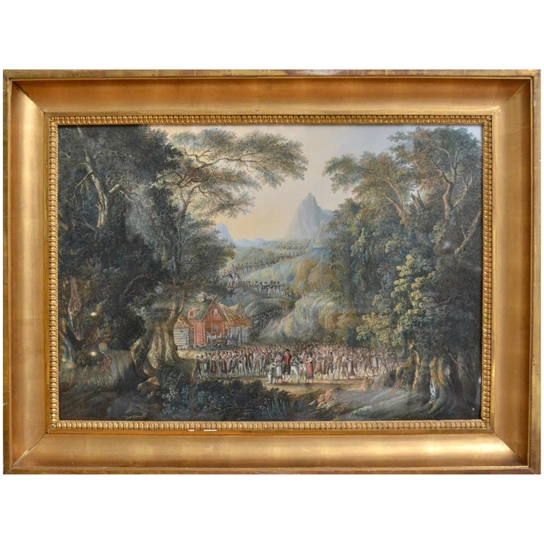 Landscape with Villagers Greeting Soldiers by Axel Fredrik Cederholm For Sale