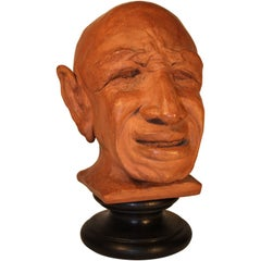 Representing P. Picasso Caricature Sculpture in Terracotta