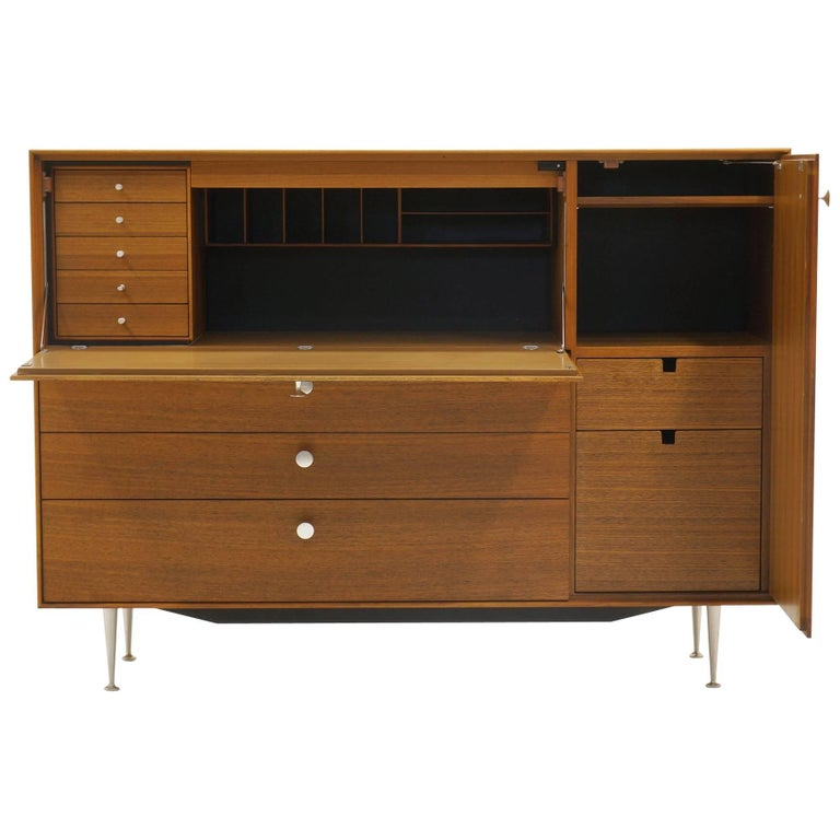 Thin Edge Secretary in Walnut by George Nelson, Excellent Condition