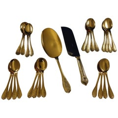 Elysee by Puiforcat French Sterling Silver Vermeil Gold Ice Cream Set 26 pcs