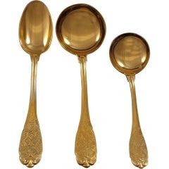 Elysee by Puiforcat French Sterling Silver Vermeil Gold Soup Serving Set 37 Pcs
