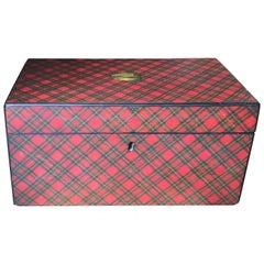Large 19th Century Scottish Red Tartan Box