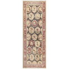 Wide Hallway Gallery Size Black Antique Caucasian Karabagh Rug