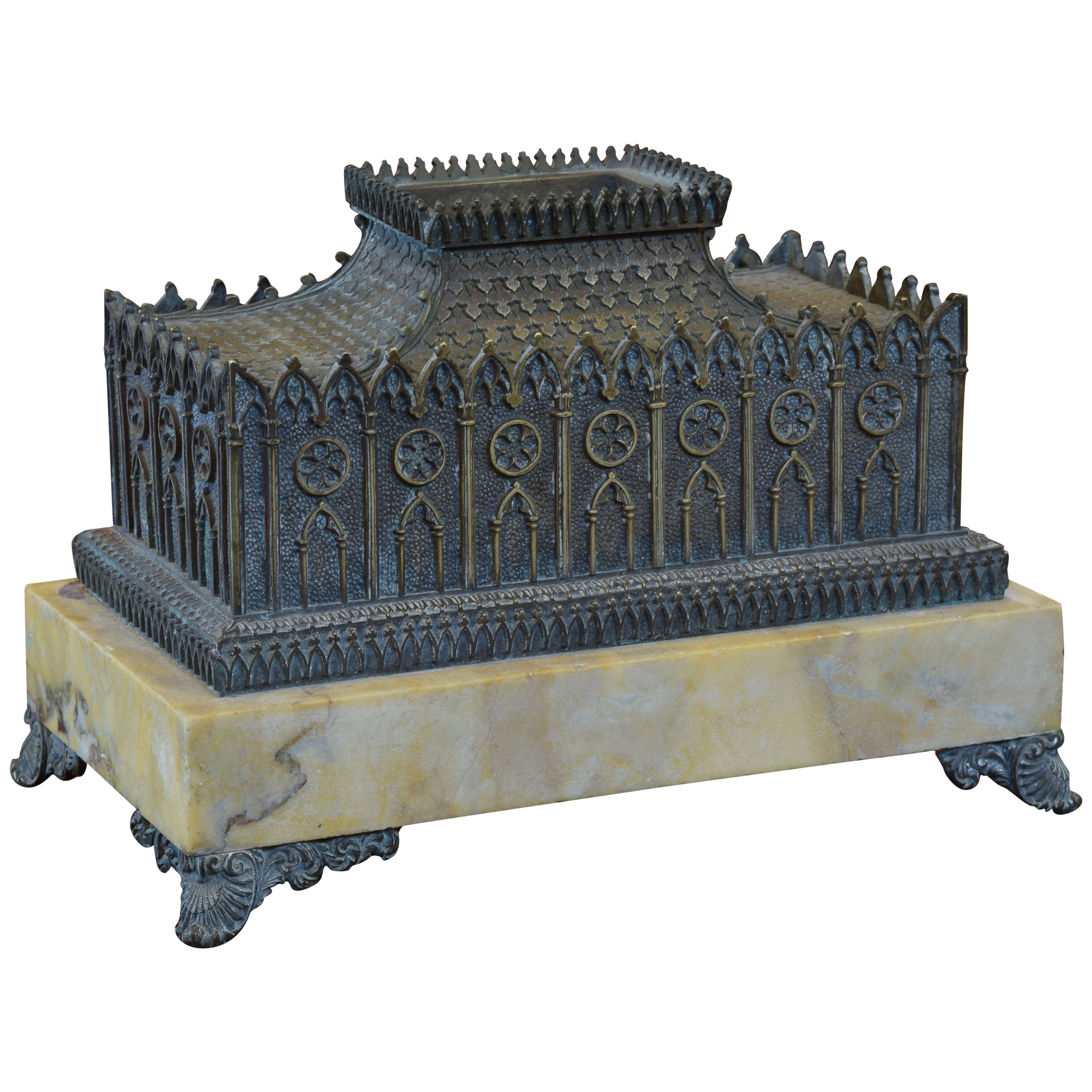 Italian Patinated Brass and Marble Architectural Model Inkwell, circa 1875