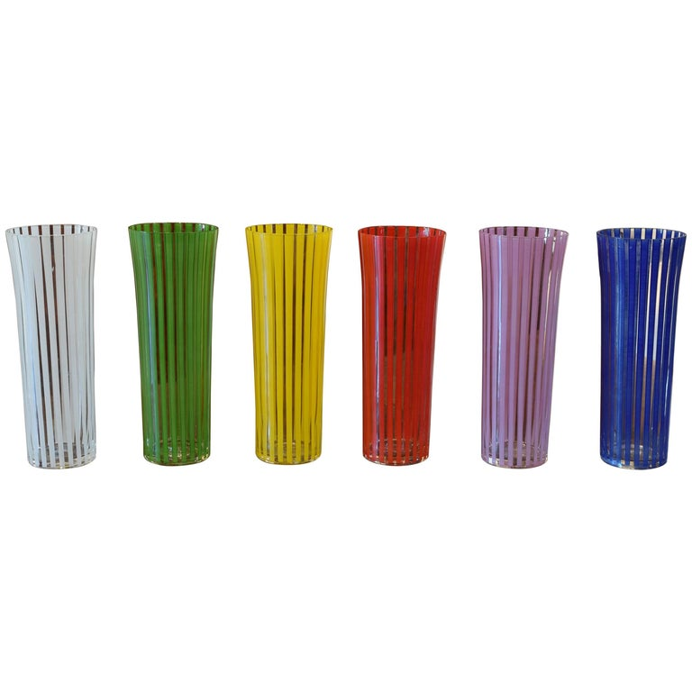 Set of Six Mid-20th Century Highball Glasses, Blown, Etched, and Painted, Italy