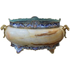 French Cloisonne on Marble Cachepot from the Second Half of the 19th Century