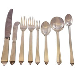 Pyramid by Georg Jensen Wendell Danish Sterling Silver Flatware Set of 57 Pieces