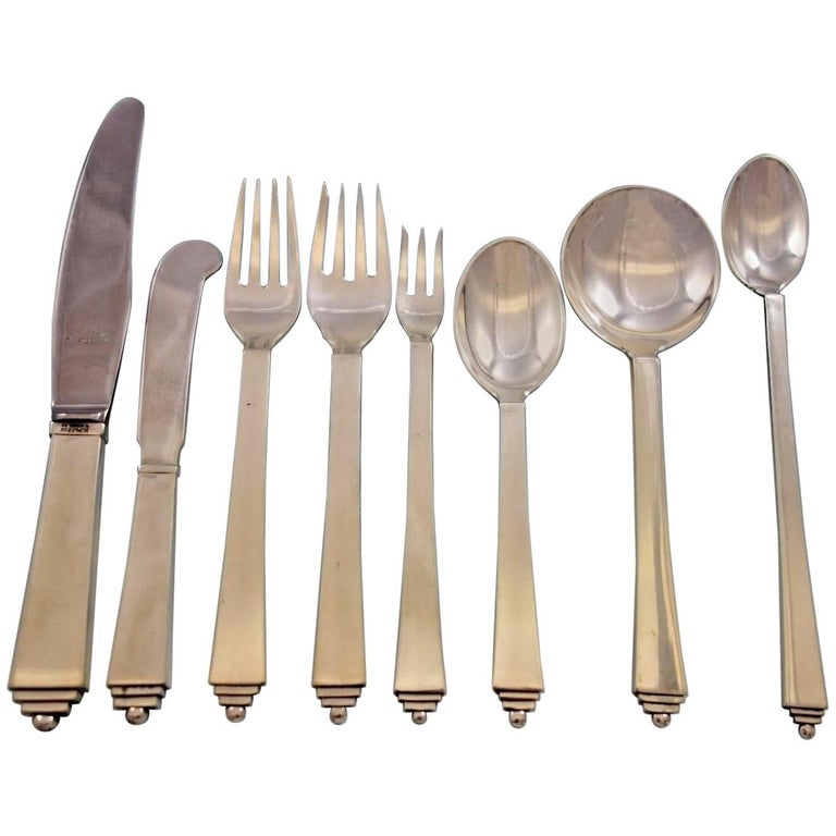 pyramid by georg jensen wendell danish sterling silver flatware set of 57 pieces at 1stdibs. Black Bedroom Furniture Sets. Home Design Ideas