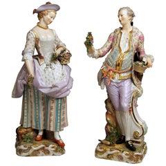 Meissen Two Gardeners Male Female Models 2868 B 65 Kaendler 20 inches made 1870