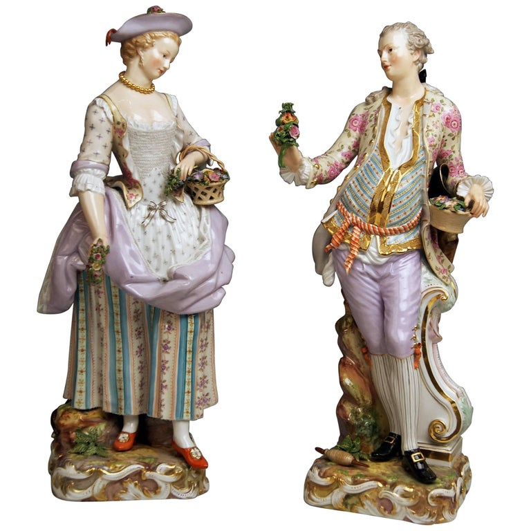 Meissen Two Gardeners Male Female Models 2868 B 65 Kaendler 20 inches made 1870 1