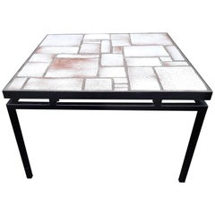 Mid-Century White, Beige Ceramic Coffee Table on Painted Metal Base
