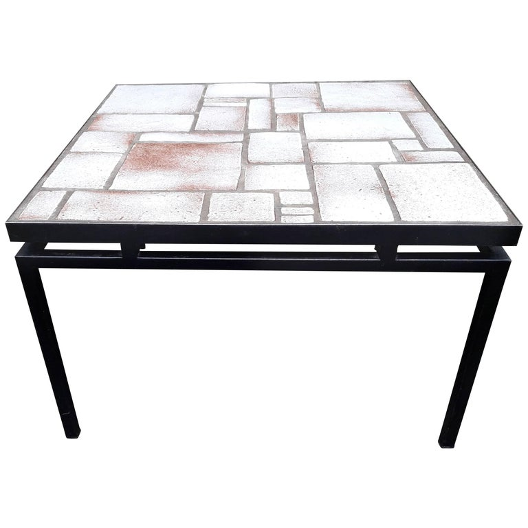 Mid Century White Beige Ceramic Coffee Table On Painted Metal Base For Sale At 1stdibs