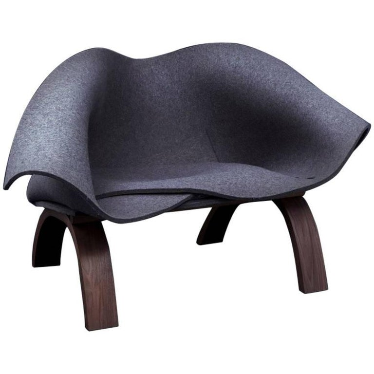 """Modern """"Babafelt Chair"""" with Walnut Timber Base and Thick Natural Wool Felt Seat For Sale"""