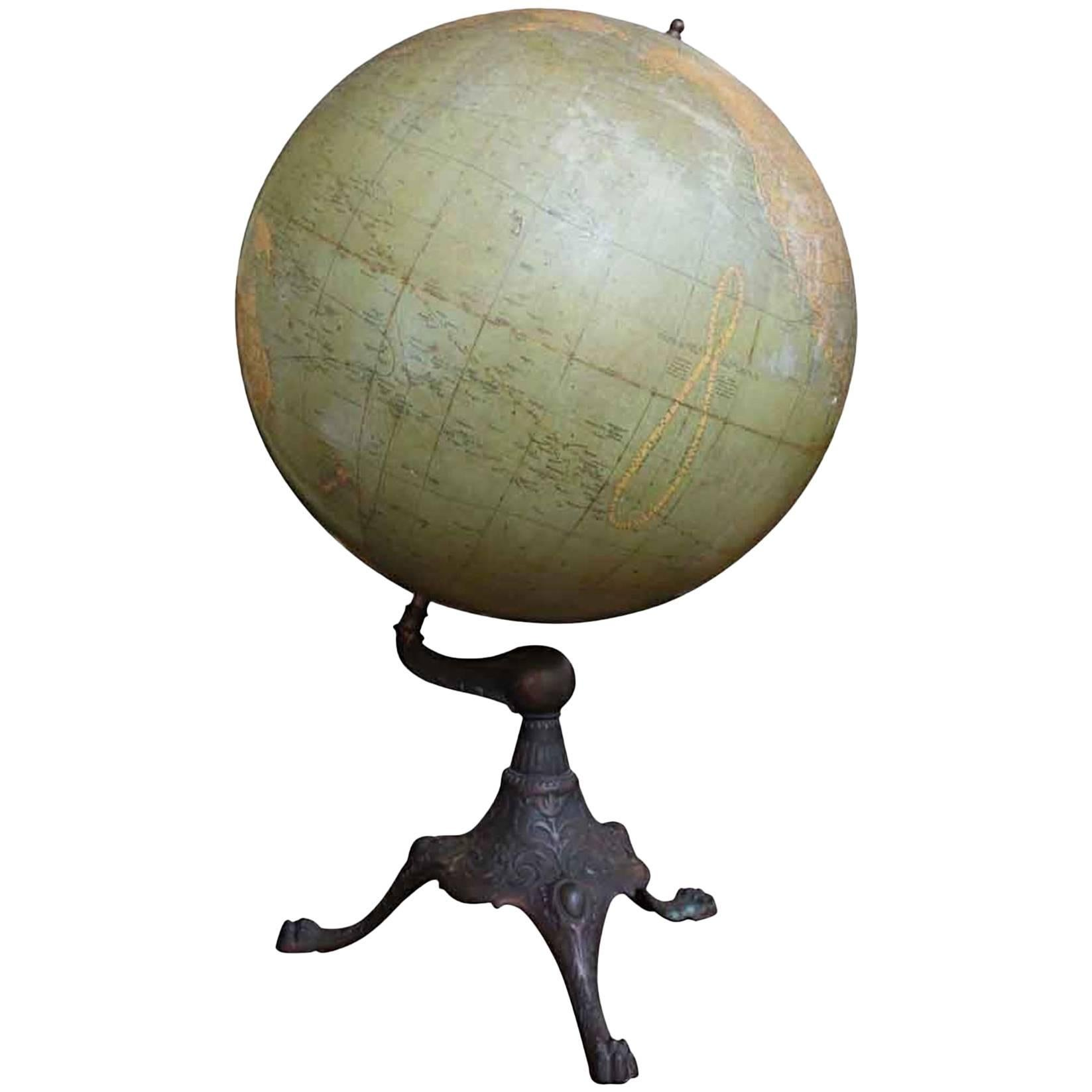 1920s Library or Classroom Terrestrial World Globe with a Cast Iron Base
