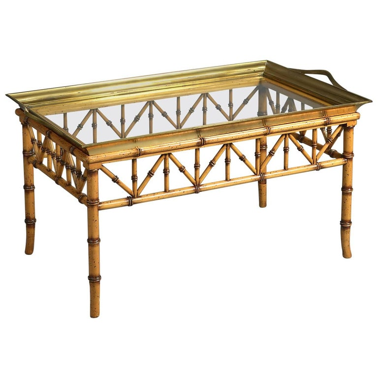Mid Century Faux Bamboo Glass And Brass Tray Top Coffee Table Or Low Table At 1stdibs