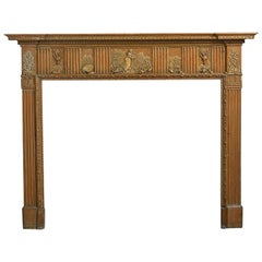 Fine 18th Century George III Pine and Gesso Chimneypiece or Fireplace