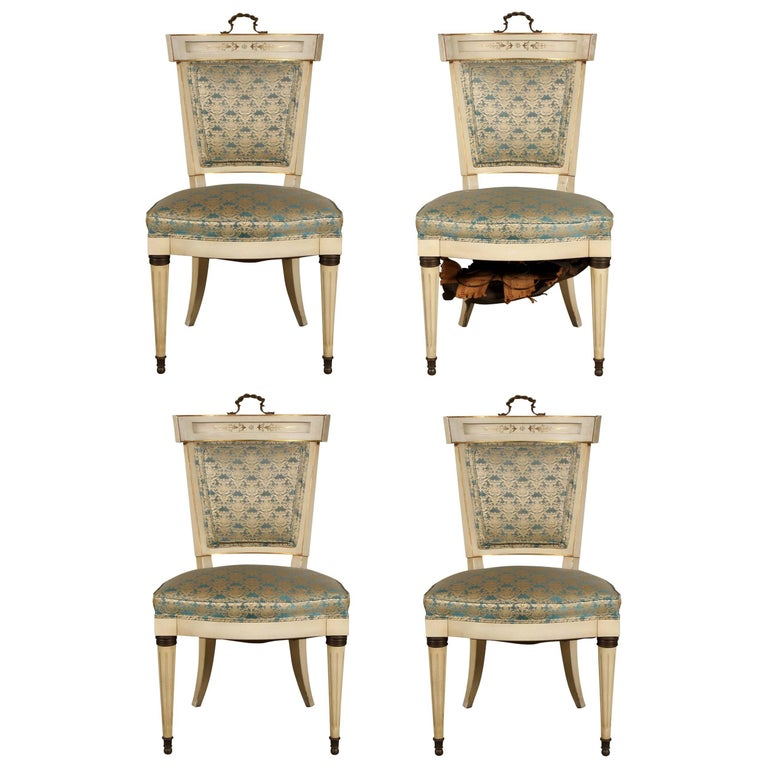 Set of four hollywood regency side chairs at 1stdibs for Regency furniture living room sets