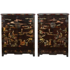 Pair of Regency Period Chinese Coromandel Lacquer Cabinets