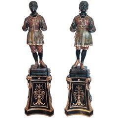 Pair of Palatial Rare Italian Venetian Blackamoors on Carved and Gilt Pedestals