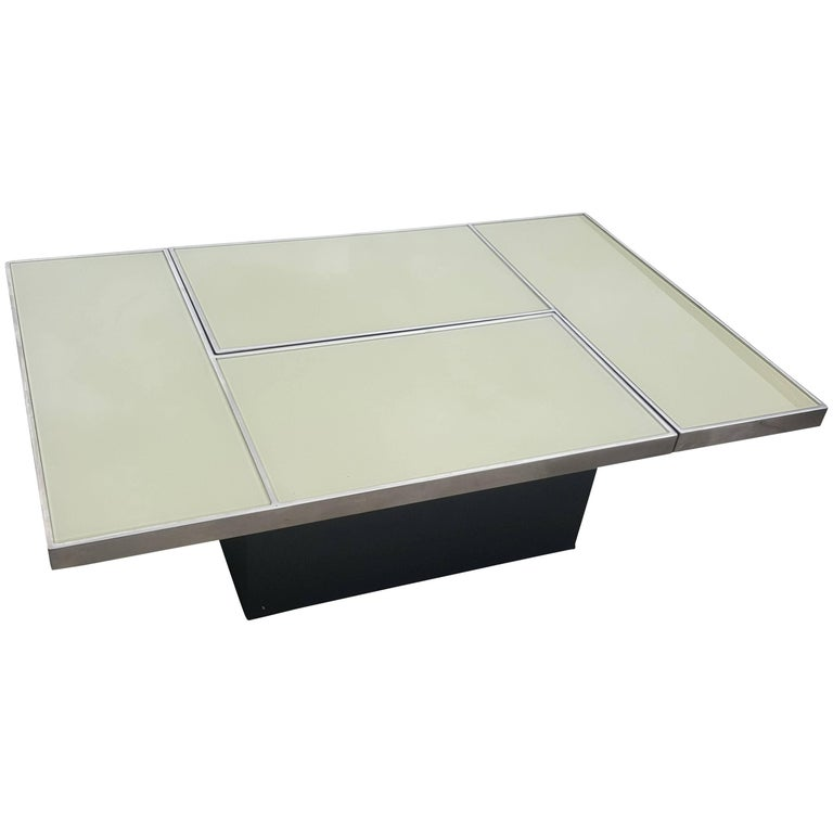 Stunning Sliding Coffee Table with Hidden Bar, Mid-Century Modern