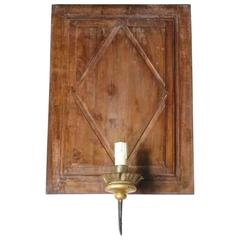 19th Century Wood Panel Made Into Sconce Rewired American