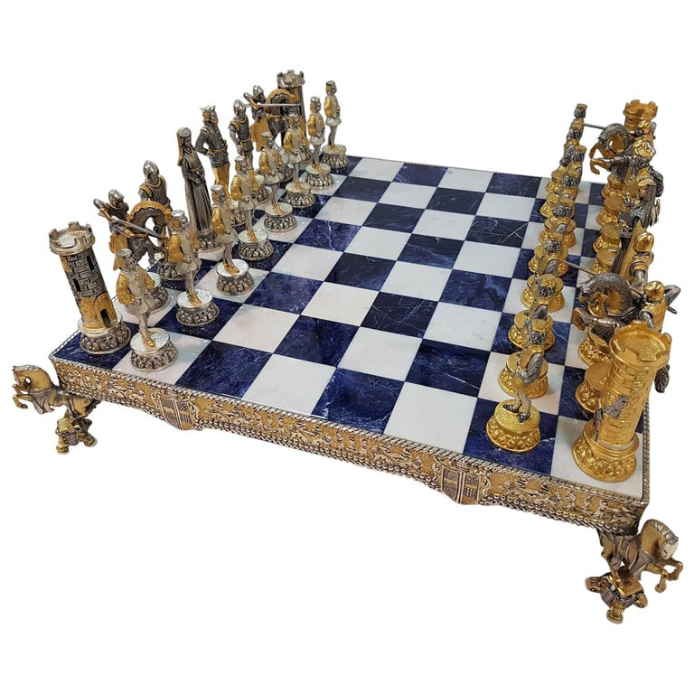 20th Century Italian Sterling Silver Chess Board, Chess Game blue lapis,marble