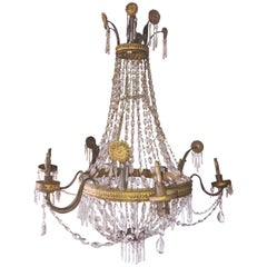 18th Century Italian Empire Crystal Chandelier
