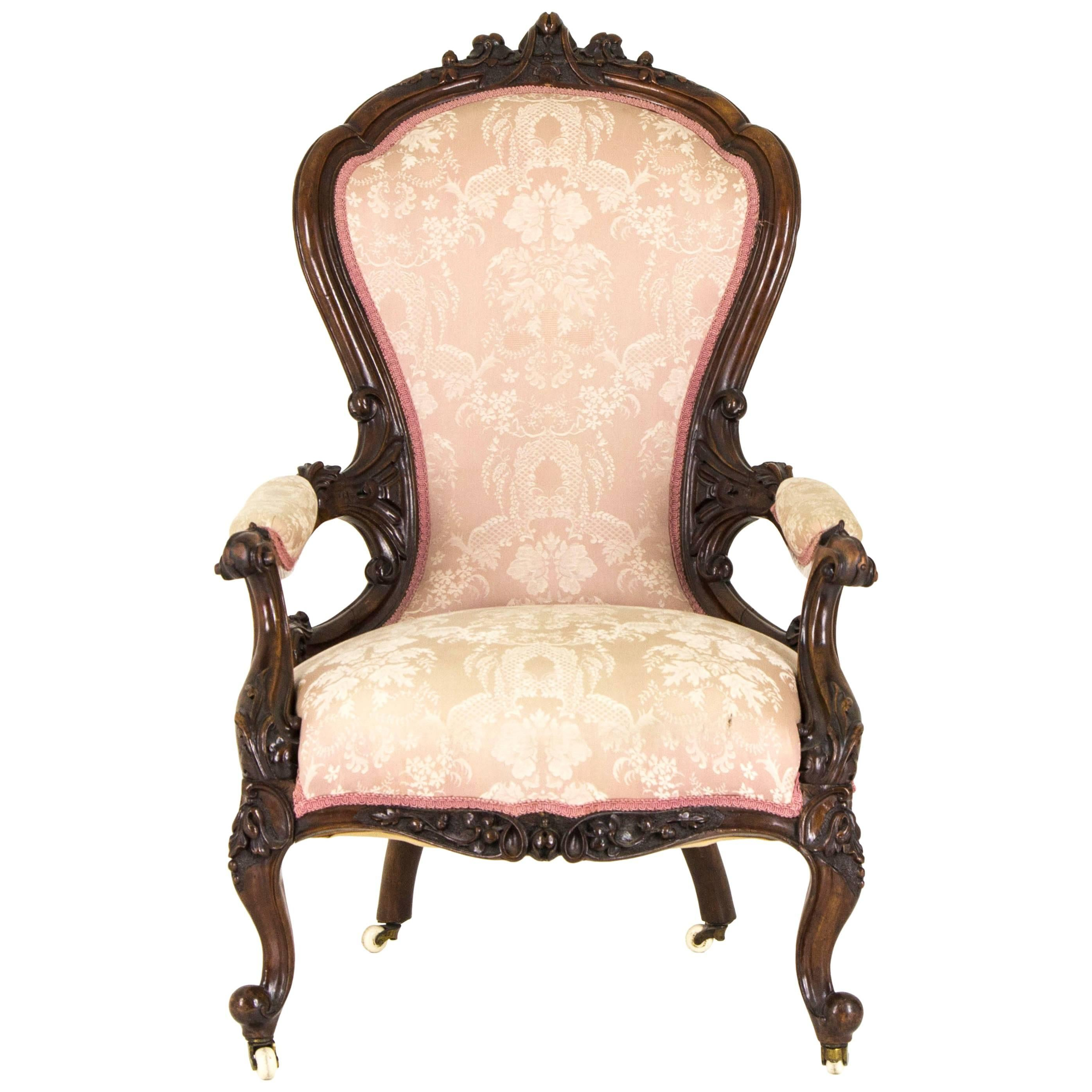 Charming Victorian Parlor Chair Carved Mahogany Chair Scotland, 1870 For Sale