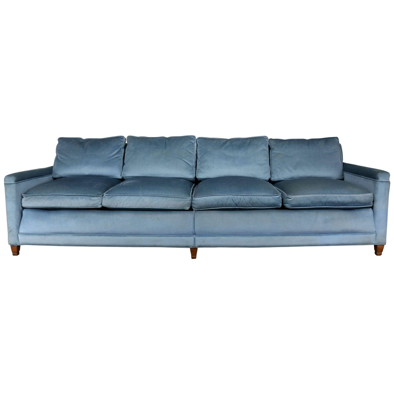 Superior Powder Blue Lawson Style Four Cushion Sofa Vintage, Mid Century Modern For  Sale