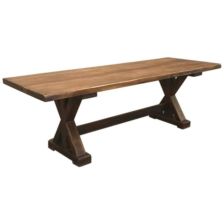 Antique Rustic Country French Trestle Table For Sale At