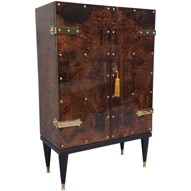 Mid-Century Modern, Goatskin Bar Cabinet by Aldo Tura For Sale