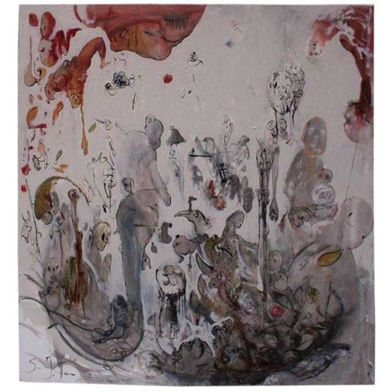 Ignazio Schifano Contemporary Sicilian Artist Oil Painting on Canvas For Sale