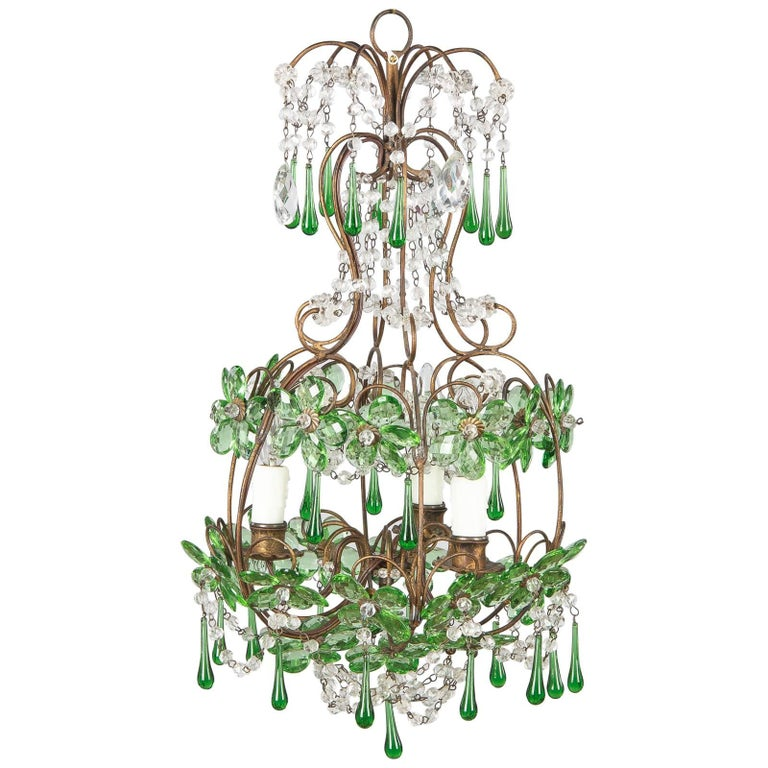 French Green Glass and Crystal Chandelier, 1920s