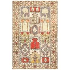 Family Prayer Antique Turkish Ghiordes Rug
