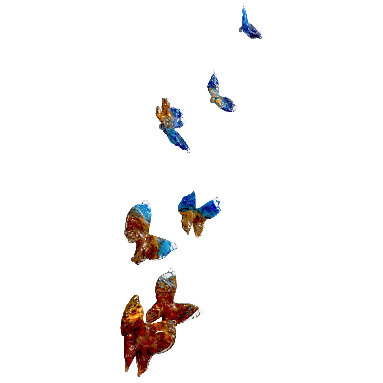 Flight of Blue Butterflies Contemporary Blown Glass Modern Wall Art Sculpture