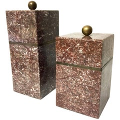 Pair of Marble and Brass Boxes by Marquis Collection of Beverly Hills