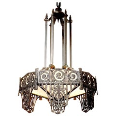 Pair of Highly Detailed French Art Deco Chandelier