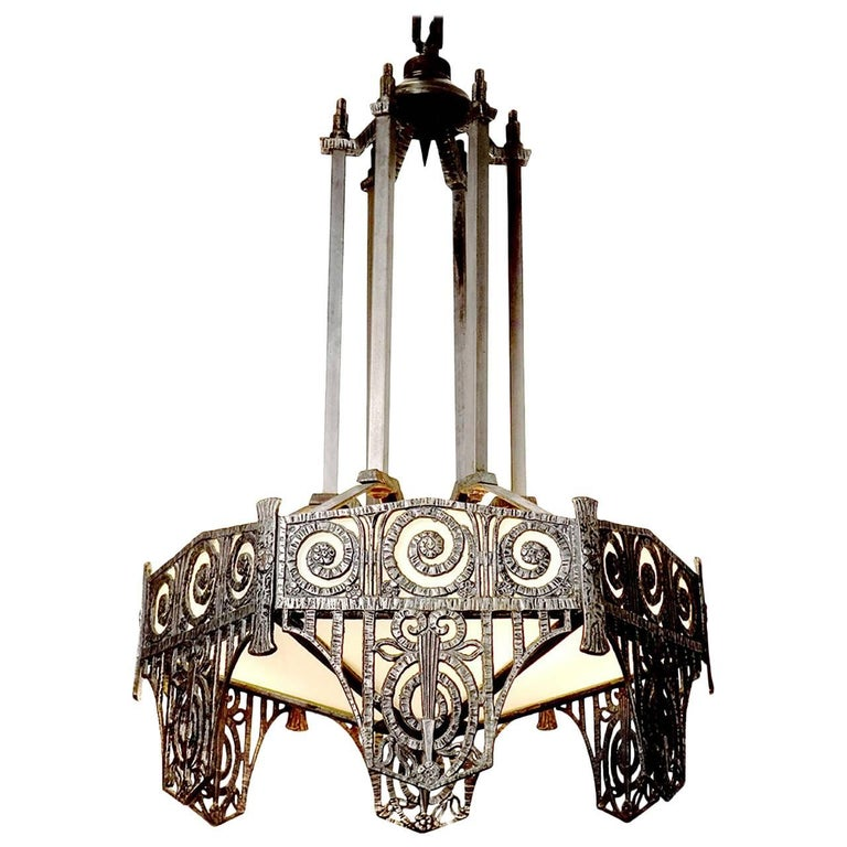 Pair of Highly Detailed French Art Deco Chandelier For Sale