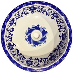 Blue and White Lotus Ceramic Sink or Planter, Hand-Painted