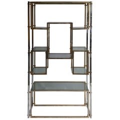 Hollywood Regency Shelf or Etagere Brass
