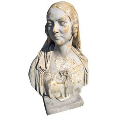 Antique French 19th Century Plaster Bust of a Woman