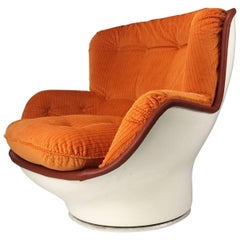 Michel Cadestin Fiberglass Karate Lounge Chair with New Upholstery