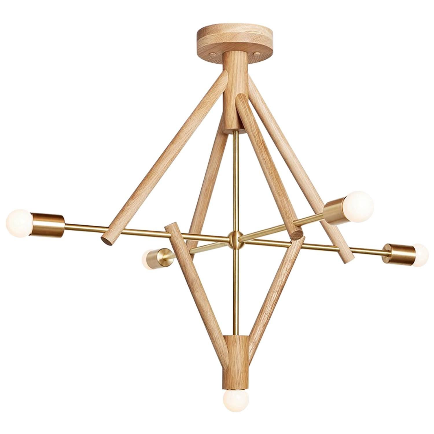 Workstead Lodge Chandelier Five in Natural Oak and Brass