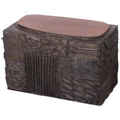 Paul Evans Sculpted Bronze Side Table