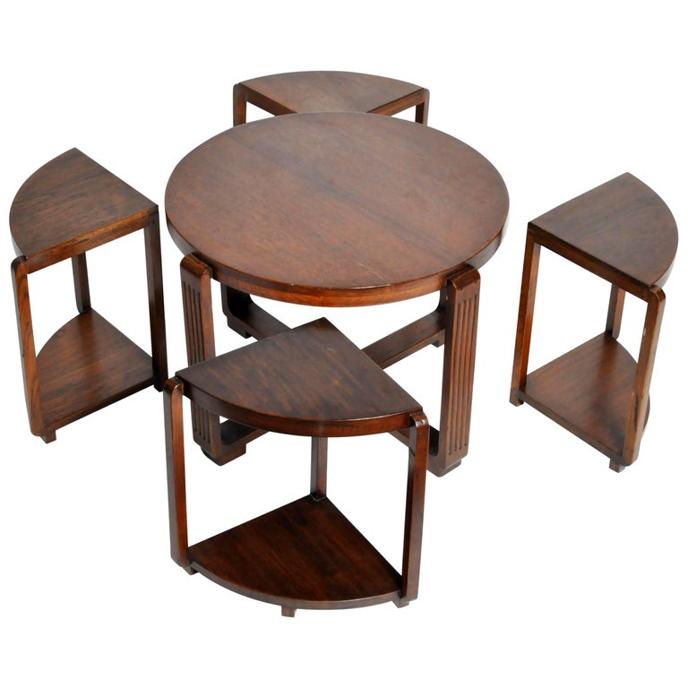Art Deco Round Coffee Table With Four Nesting Tables For Sale At 1stdibs