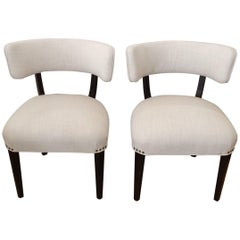 Super Stylish Mid-Century Modern Pair of Klismos Club Lounge Chairs