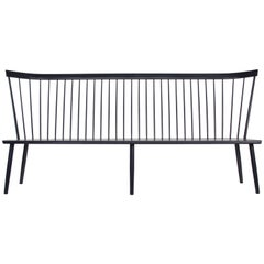 Colt Settee from O&G Studio, Contemporary Windsor Bench in Black Ash
