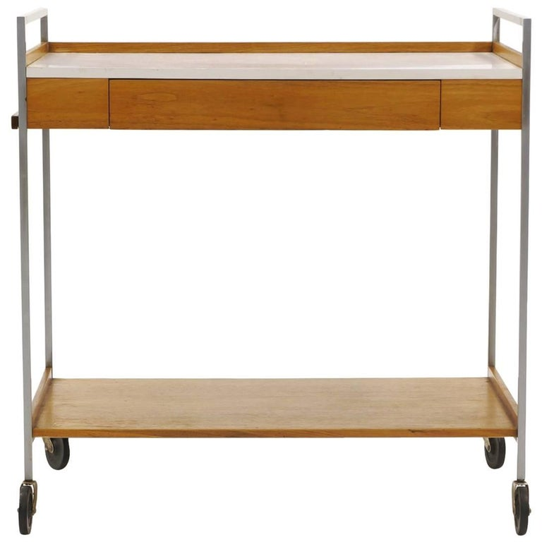 George Nelson Rolling Serving Bar or Tea Cart with Slide Out Shelf